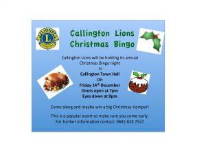 Lions Xmas BINGO @ Callington TOWN HALL | Callington | England | United Kingdom